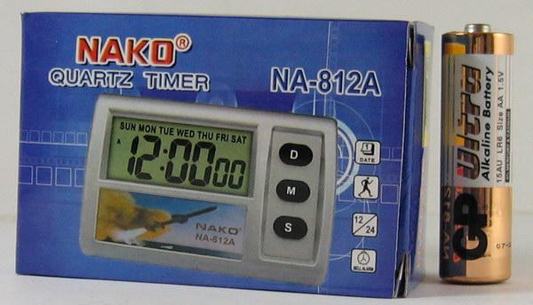 Часы автомобильные №812A NAKO (с будильн.)
