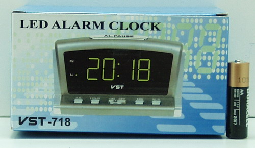 Часы-буд. электронные VST-718-4 (ярк. зел. циф.)