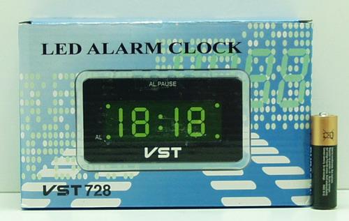 Часы-буд. электронные VST-728-4 (ярк. зел. циф.)
