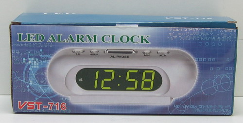 Часы-буд. электронные VST-716-4 (ярк. зел. циф.)
