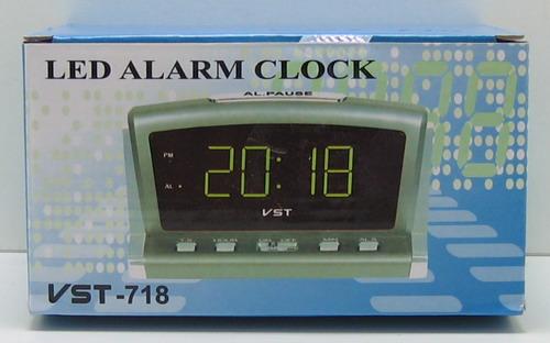 Часы-буд. электронные VST-718-2 (зел. циф.)