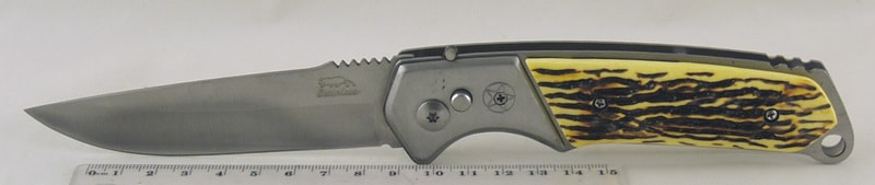 Нож 333 пруж/фик., кост. ручка, чехол