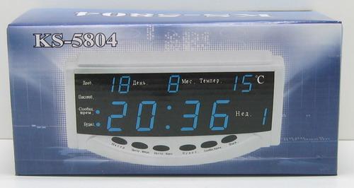 Часы-буд. электронные с темп. №5804 син. циф. дата