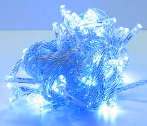Гирлянда 100 светодиод (6 мм) голуб. прозрачн. NEW