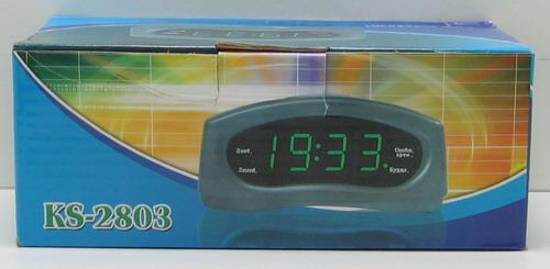 Часы-буд. электронные с темп. №2803 (зел. циф.)