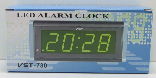 Часы-буд. электронные VST-730-4 (ярк. зел. циф.)
