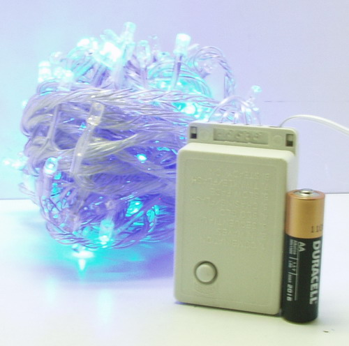 Гирлянда 180 светод. (6 мм) голуб. прозрачн. NEW