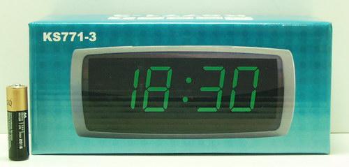 Часы-буд. электронные с темп. 771-3 зел. циф. дата