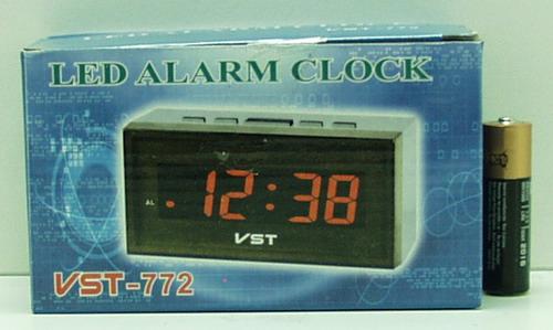 Часы-буд. электронные №772-1 крас. светод., датчик
