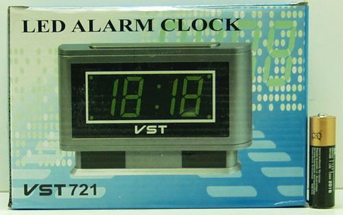 Часы-буд. электронные VST-721-4 (ярк. зел. циф.)