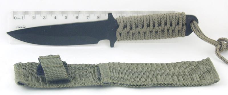 Нож А 3 мал. (зел. плетен. чехол) черн.