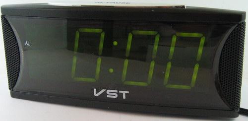 Часы-буд. электронные VST-719-2 (зел. циф.)
