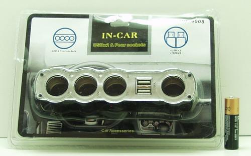 Разветвитель прикурив. (4 вых.+USB) WF-4008 авто