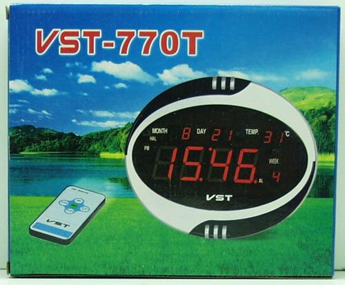 Часы-буд. электронные VST-770T-1 (крас.) с пультом