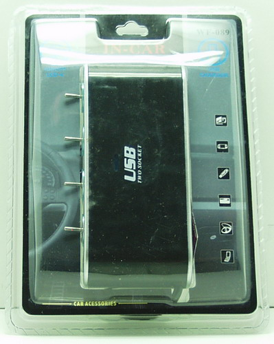 Разветвитель прикурив. (4 вых.+USB) WF-089 (0307) авто с выключ.