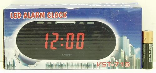 Часы-буд. электронные VST-715-1 (крас. циф.)