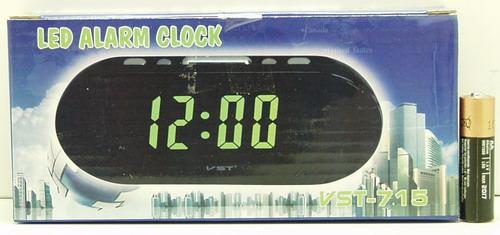 Часы-буд. электронные VST-715-2 (зел. циф.)
