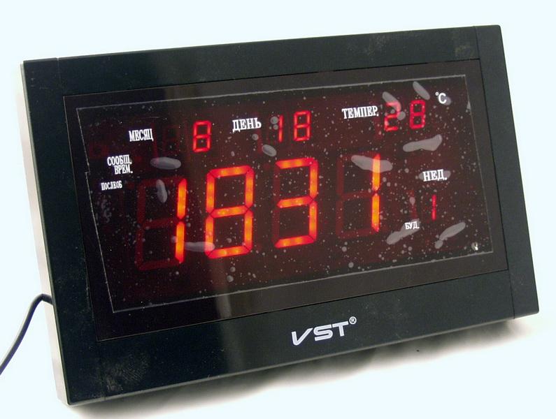 Часы-буд. электронные VST-771T-1 (крас. циф.)