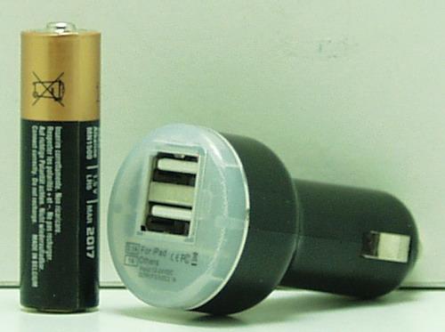 Блок питания для MP3 (2 USB,без шн.) 5V 2000mA прикур. AB-05 (5656)