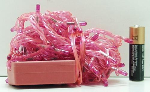 Гирлянда 120 ламп (4 мм) 8реж. розовые розовый шнур
