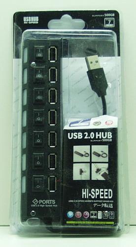 Разветвитель USB (7 вход.) с выключат. №701