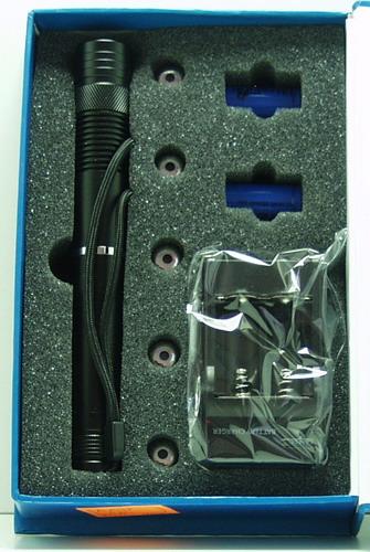 Лазерная указка синяя 1000W (2 аккум.) B-009 5 насад.