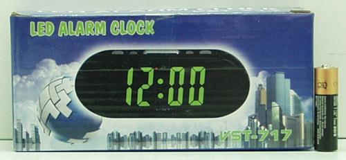 Часы-буд. электронные VST-717-2 (зел. циф.)