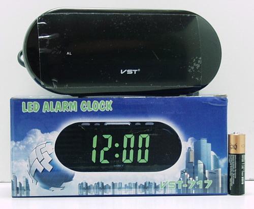 Часы-буд. электронные VST-717-4 (ярк. зел. циф.)