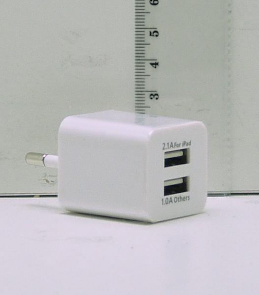 Блок питания для MP3 (2 USB разъем, без шн.) 5V 2,1+1A сетев. №005