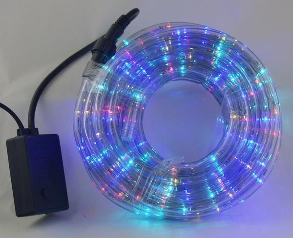 Шнур (дюралайт) 100м прозр., разн. светодиод. кругл