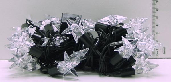 Гирлянда 60 (28) ламп диодн. (2в1) черн. шнур (звездочки) разноцв.