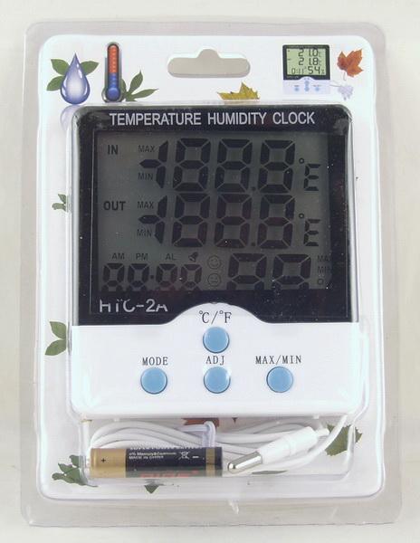 Термом. цифр. (внешний + внутр.) HTC-2A с гидрометром, часами
