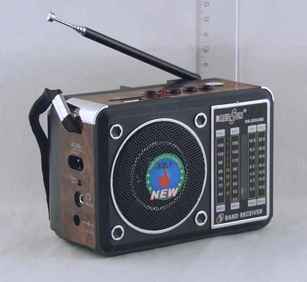 RS-203 (FM 64-108,AM,SW1/2) сетев. SD, USB сетев./2R20/съемн. акк.