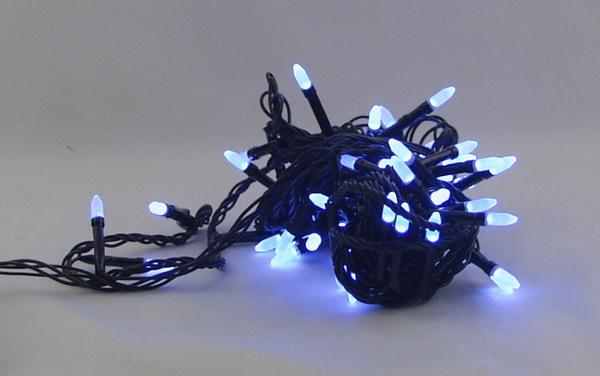Гирлянда 100 светод. (3 мм свечки) белые черн. шнур