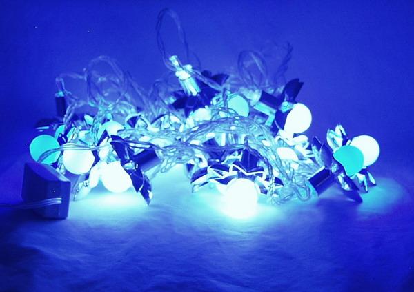 Гирлянда 20 ламп (16мм) шары с цветами (2цв. в 1) разноцв.