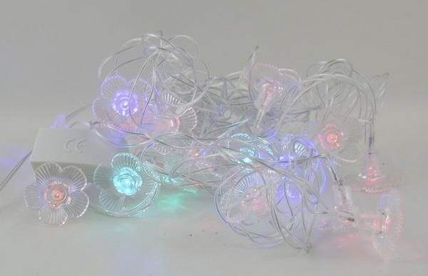 Гирлянда 20 ламп двухцветн. (цветы) №1011