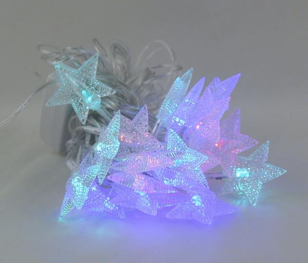 Гирлянда 20 ламп двухцветн. (звездочки) №1005