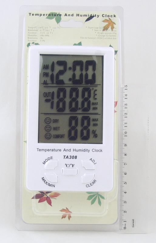 Термом.+ гигрометр цифровой TA-308 с часами