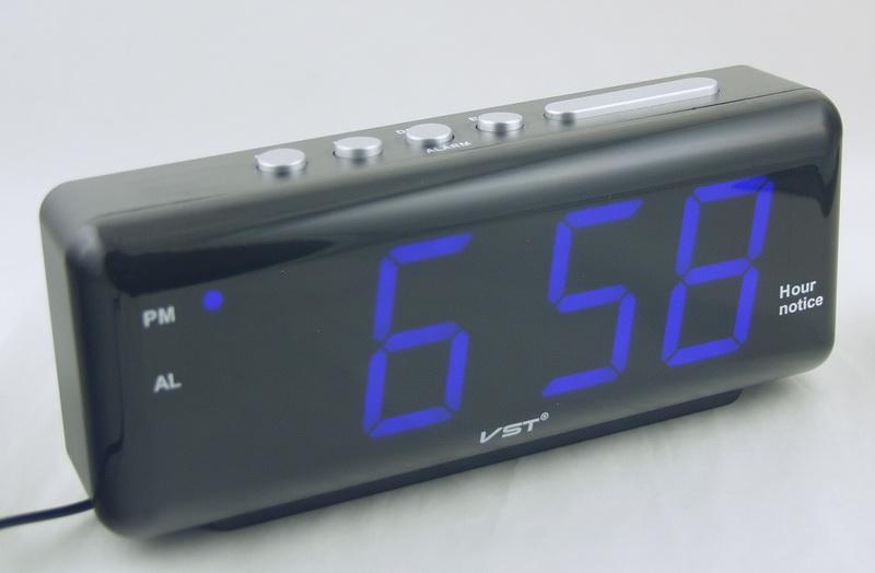 Часы-буд. электронные VST-762T-5 (синие циф.) говорящ.