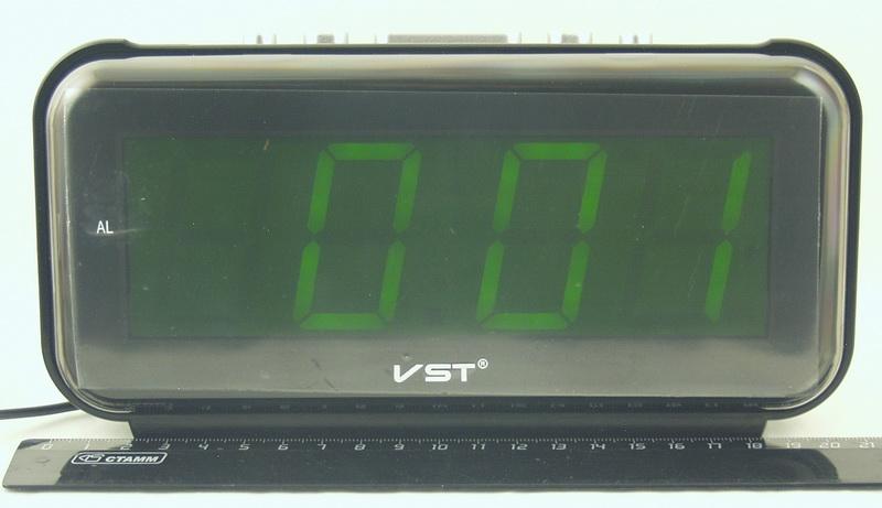 Часы-буд. электронные VST-806-2 (зелен. циф.)