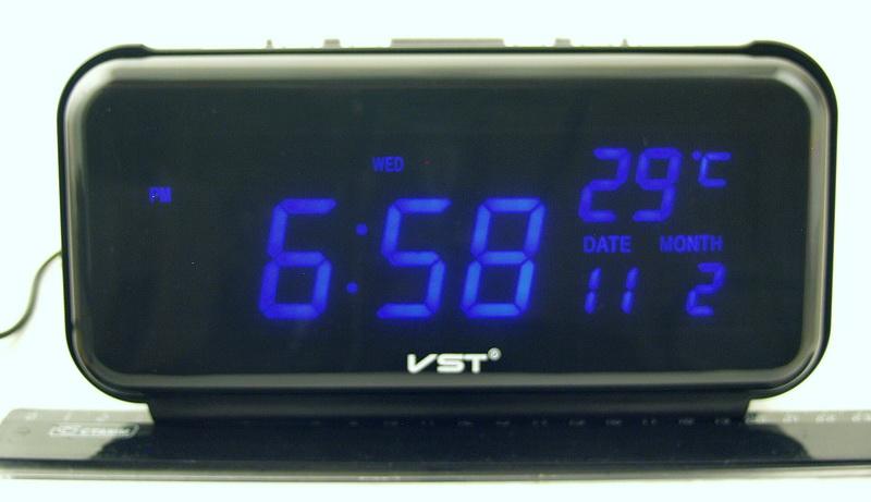 Часы-буд. электронные VST-806W-5 (синие циф.)