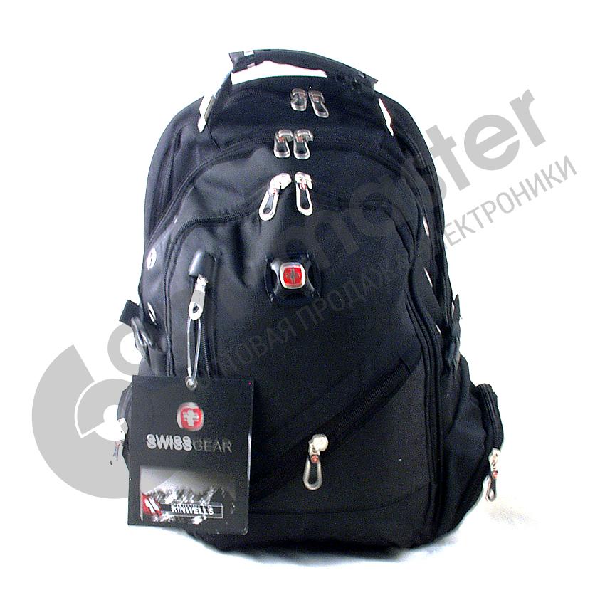 Рюкзак с разъемом+USB (3отдел., 4бок.+ 2внеш. карм. 48*32см) №8815 SWISS