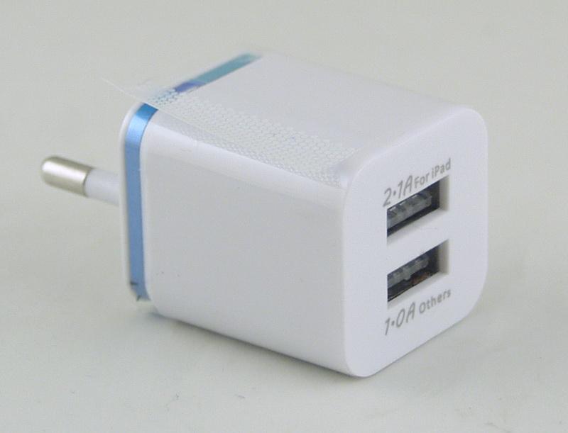 Блок питания для MP3 (2 USB разъем, без шн.) 5V 2,1+1A сетев. A-20 (001)