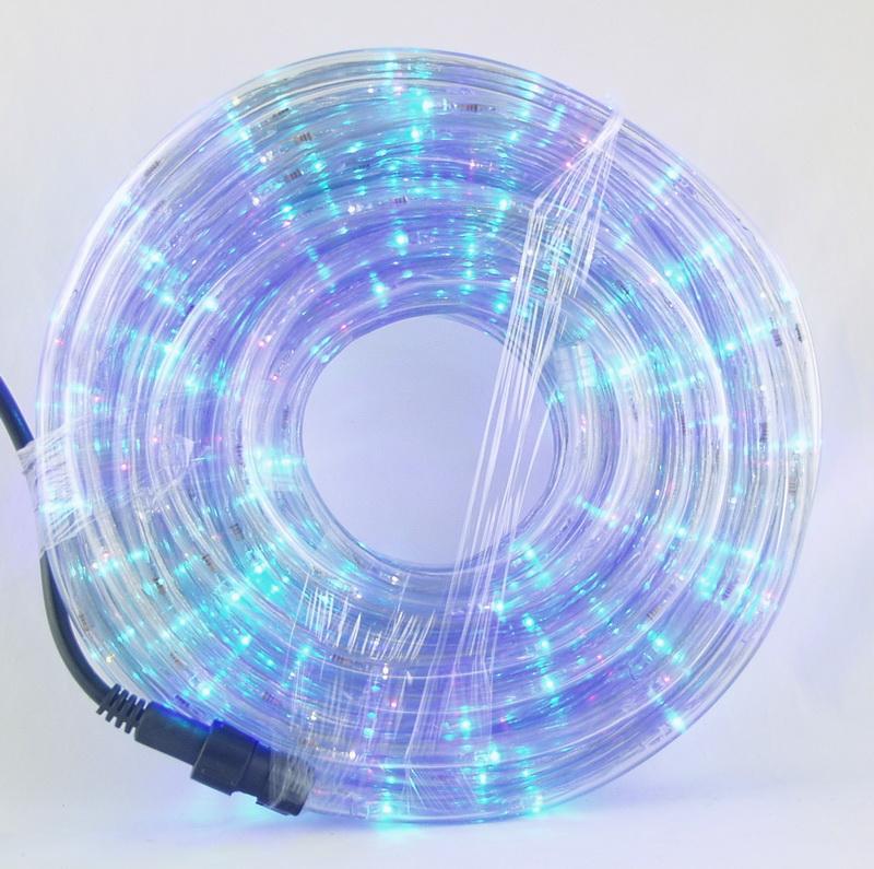 Шнур (дюралайт) 20м прозр., разн. светодиод. кругл