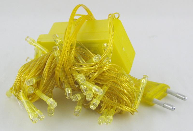 Гирлянда 100 светод. (6 мм) 8реж. желтые желтый шнур