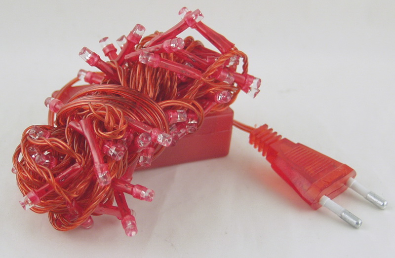 Гирлянда 100 светод. (6 мм) 8реж. красные красный шнур