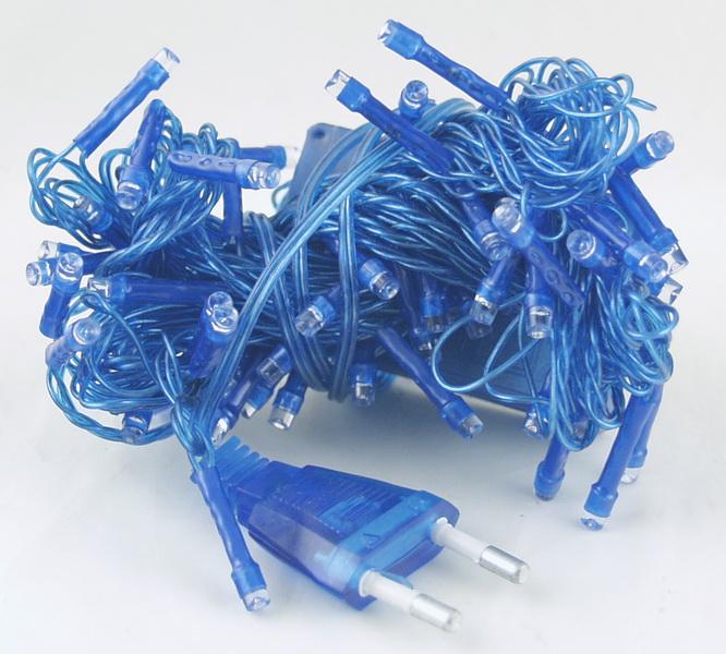 Гирлянда 100 светод. (6 мм) 8реж. синие синий шнур