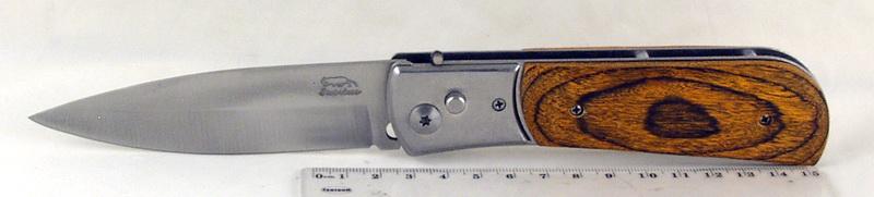 Нож 575 (AC575-66) больш. дерев. руч. выкидн. в чехле