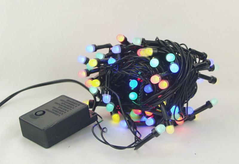 Гирлянда 200 ламп (8мм) светод. разноцв. (черный шнур) 8 реж. CY-200
