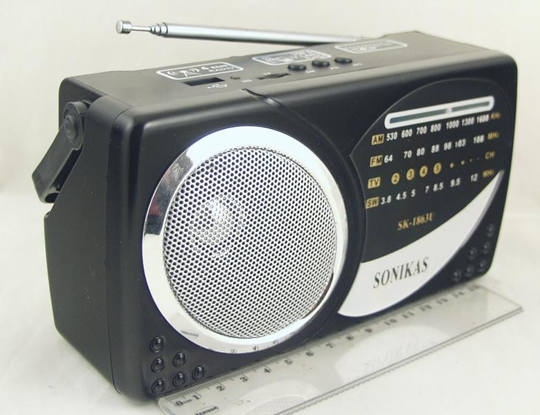 SK-1863USB (FM 64-108,AM 4 Band) SD, USB сетев./2R20/съемн. акк.